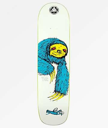 "Welcome Sloth On Bunyip 8.0"" tabla de skate blanca, azul, amarilla"