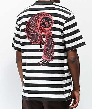 Welcome Sloth camiseta negra, blanca y roja de rayas