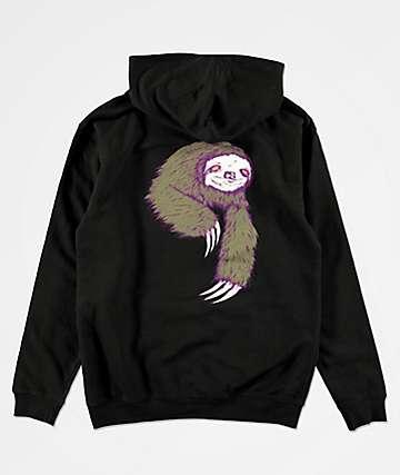 Welcome Sloth sudadera con capucha negra para niños