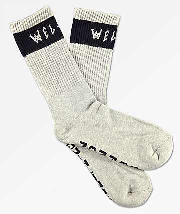 Welcome Summon Heather Grey & Black Crew Socks