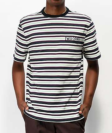 Welcome Surf Stripe Bone & Purple Striped T-Shirt