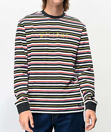 Welcome Surf camiseta de manga larda negra y blanca de rayas