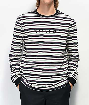 Welcome Surf camiseta de manga larga blanca, morada, y menta de rayas
