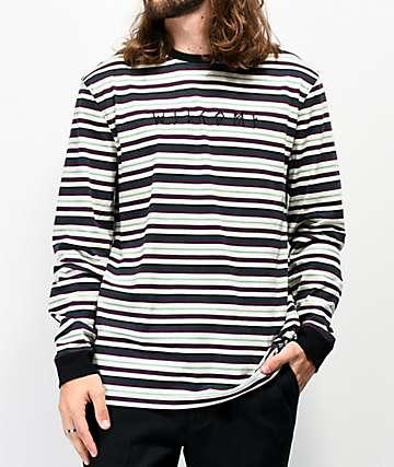 Welcome Surf camiseta de manga larga blanca, verde y morada de rayas