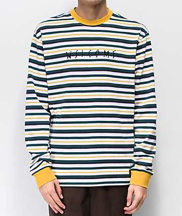 Welcome Surf camiseta de manga larga de rayas doradas y azules
