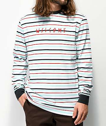 Welcome Surf camiseta de manga larga verde azulado y blanca de rayas