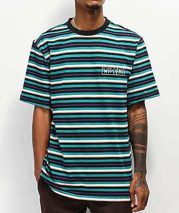 Welcome Surf camiseta verde azulado y negra de rayas