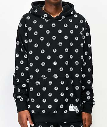 Welcome Tali-Dot Allover Print Black Hoodie