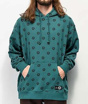 Welcome Tali-Dot Allover Print sudadera con capucha verde azulado