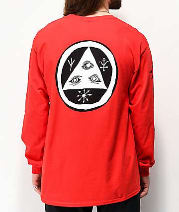 Welcome Tali-Scrawl camiseta roja de manga larga