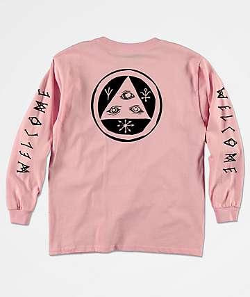 Welcome Tali Scrawl camiseta rosa de manga larga para niños