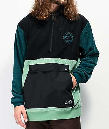 Welcome Talisman chaqueta anorak de polar negro, verde y turquesa