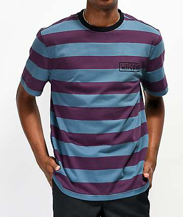Welcome Thicc camiseta morada y azul de rayas