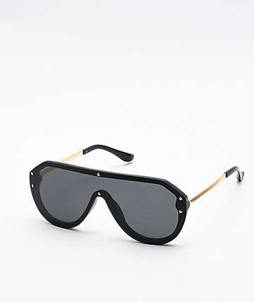 Willow Black Oversized Shield Sunglasses
