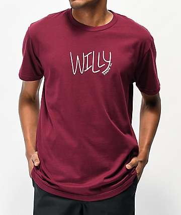 Willy Skate Co. Script Logo Maroon T-Shirt