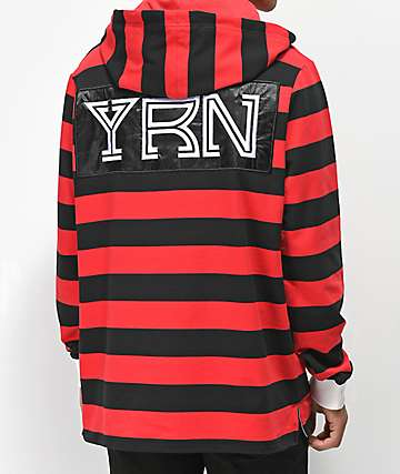 YRN Black & Red Long Sleeve Rugby Hoodie