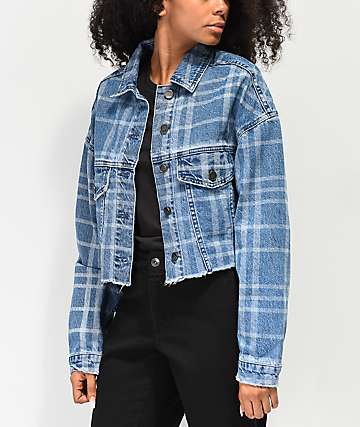 Ziggy Check Me Out Crop Denim Jacket