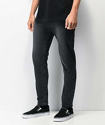 Ziggy Pipes Crop Gravel Black Denim Skinny Jeans