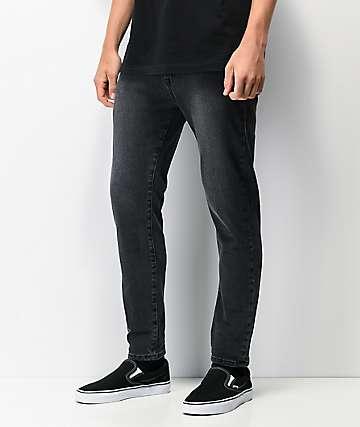 Ziggy Pipes Crop Gravel jeans ajustados de mezclilla negra