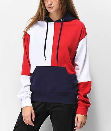 Zine Arlo sudadera con capucha roja, blanca y azul