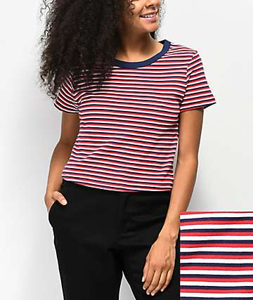 Zine Barnaby Red, White & Blue Stripe Crop T-Shirt