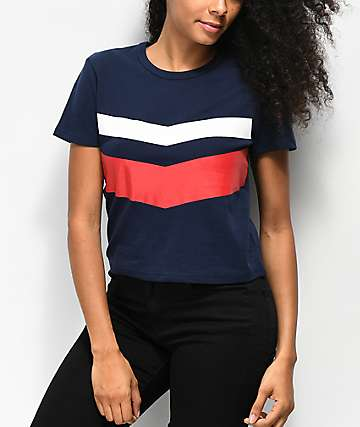 Zine Bassandra Red, White & Blue Crop T-Shirt