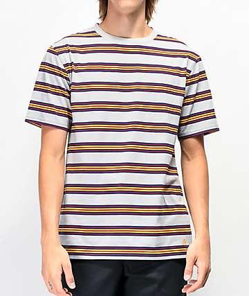 Zine Bonus Grey & Yellow Stripe T-Shirt
