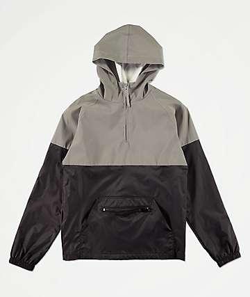 Zine Boys Block Black & Silver Reflective Anorak Windbreaker Jacket