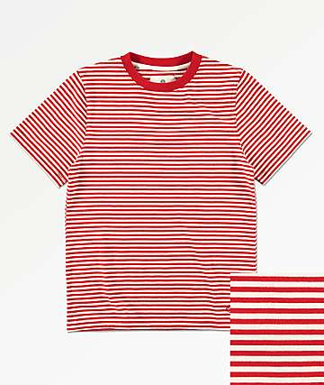 Zine Boys Ranked Red & White Striped Knit T-Shirt