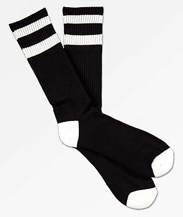 Zine Brawny Black & White Extended Crew Socks