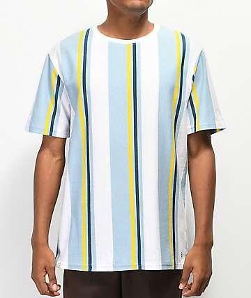 Zine Breaker camiseta verde, amarilla y blanca de rayas
