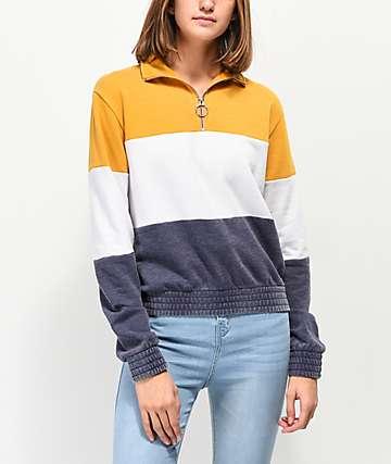 Zine Darby Yellow, White & Blue Color Block Quarter Zip Sweatshirt
