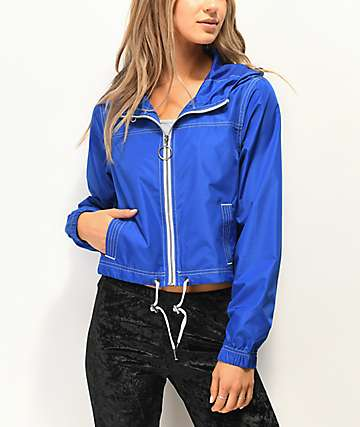 Zine Dayami Blue Crop Windbreaker Jacket