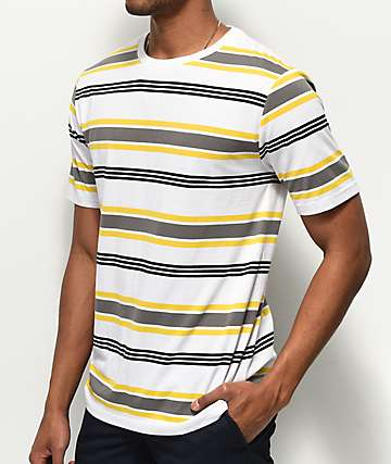 Zine Daze White, Yellow & Black Striped T-Shirt