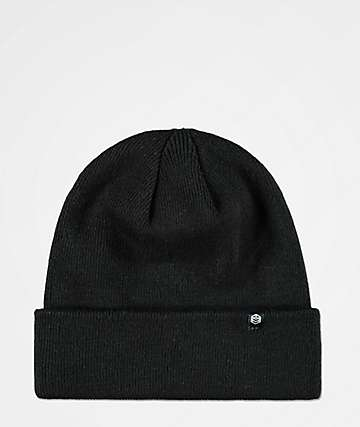Zine Essential Black Fold Beanie