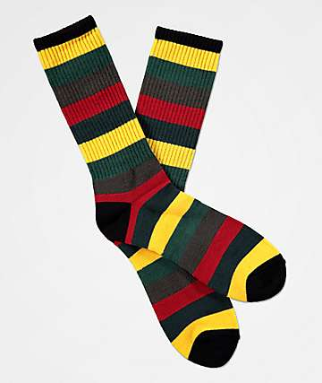 Zine Handjive Rastamane Green & Red Crew Socks