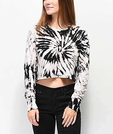 Zine Hannah Bleached Long Sleeve Crop T-Shirt