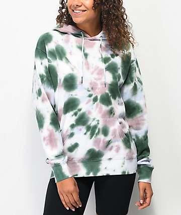 Zine Hunter sudadera con capucha tie dye verde y morada