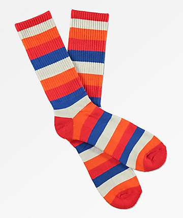 Zine Icon High Risk Red Striped Crew Socks