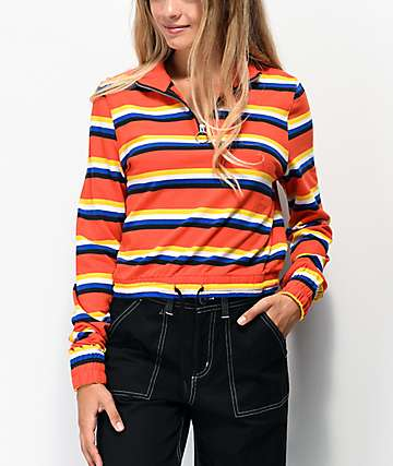 Zine Indiana Multi Stripe Orange Quarter Zip Crop Sweatshirt