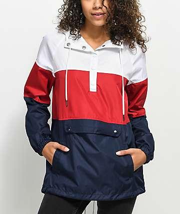 Zine Jacqui Red, White & Blue Windbreaker Jacket