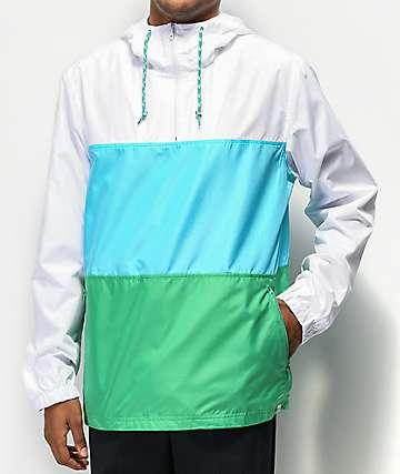 Zine Larry Blue, Green & White Colorblock Windbreaker Jacket