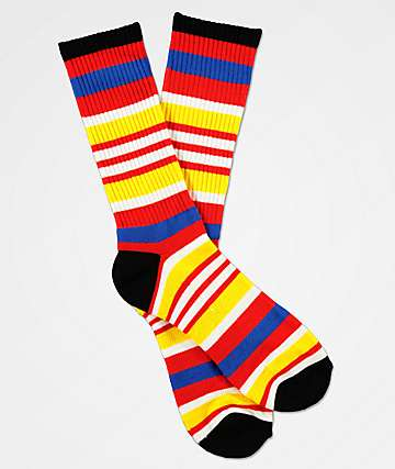 Zine Lifted Mars Red & Black Striped Crew Socks