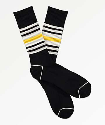 Zine Made Black, White & Gold Striped Crew Socks