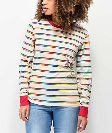 Zine Monroe Rainbow Mini Stripe Long Sleeve T-Shirt