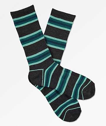 Zine Motion Heather Black & Legion Blue Crew Socks