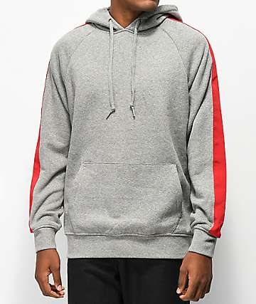 Zine Motive Grey & Red Hoodie