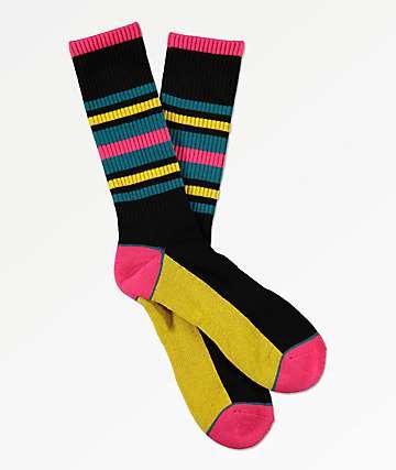 Zine Moto Jojo Diva Blue, Black & Pink Crew Socks