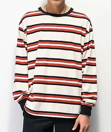 Zine Newbie Striped Grey & Red Long Sleeve T-Shirt