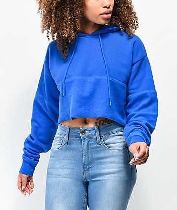 Zine Phoenix sudadera corta con capucha azul